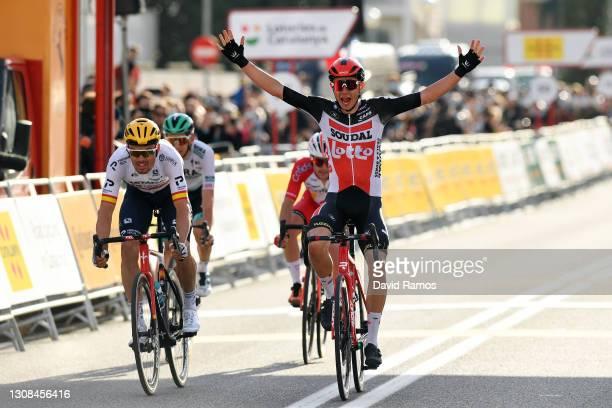 Arrival / Andreas Lorentz Kron of Denmark and Team Lotto Soudal Celebration, Luis Leon Sanchez Gil of Spain and Team Astana – Premier Tech, Rémy...