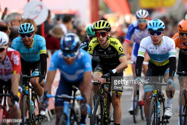 Arrival / Andrey Zeits of Kazahkstan and Astana Pro Team / Adam Yates of United Kingdom and Team Mitchelton Scott / Miguel Angel Lopez of Colombia...