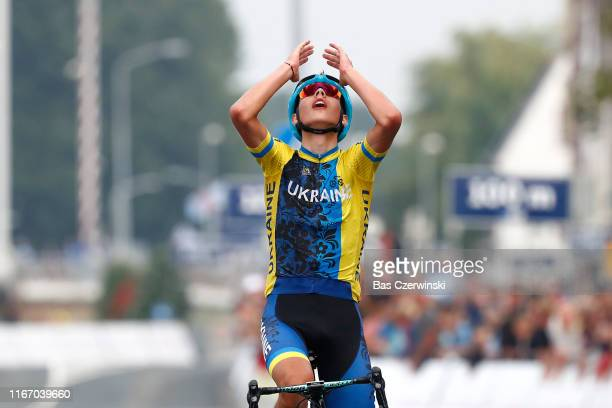 Arrival / Andrii Ponomar of Ukraine / Celebration / during the 25th UEC Road European Championships 2019 - Junior Men's Road Race a 115km race from...
