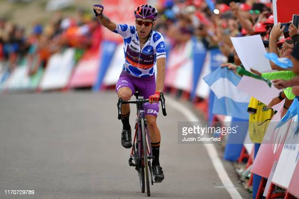 Arrival / Angel Madrazo Ruiz of Spain and Team Burgos-BH Polka Dot Mountain Jersey / Celebration / during the 74th Tour of Spain 2019 - Stage 5 a...