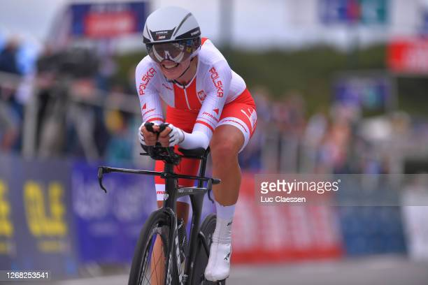 Arrival / Anna Plichta of Poland / during the 26th UEC Road European Championships 2020 - Women's Elite Individual Time Trial a 25,6km race from...
