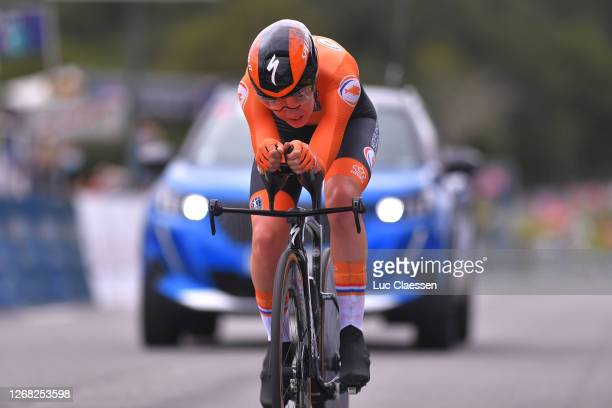 Arrival / Anna Van Der Breggen of Netherlands / during the 26th UEC Road European Championships 2020 - Women's Elite Individual Time Trial a 25,6km...