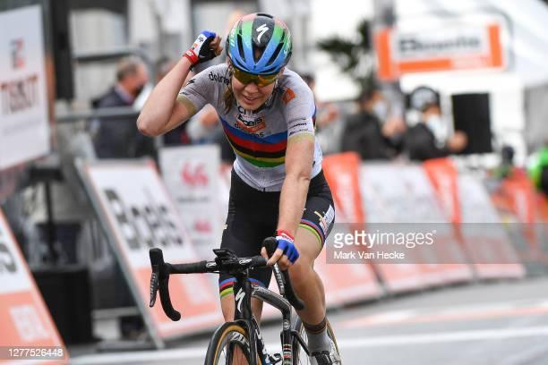 Arrival / Anna Van Der Breggen of The Netherlands and Boels Dolmans Cycling Team World Champion Jersey / Celebration / during the 23rd La Fleche...
