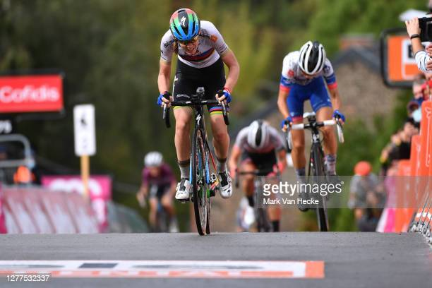 Arrival / Anna Van Der Breggen of The Netherlands and Boels Dolmans Cycling Team World Champion Jersey / Cecilie Uttrup Ludwig of Denmark and Team...
