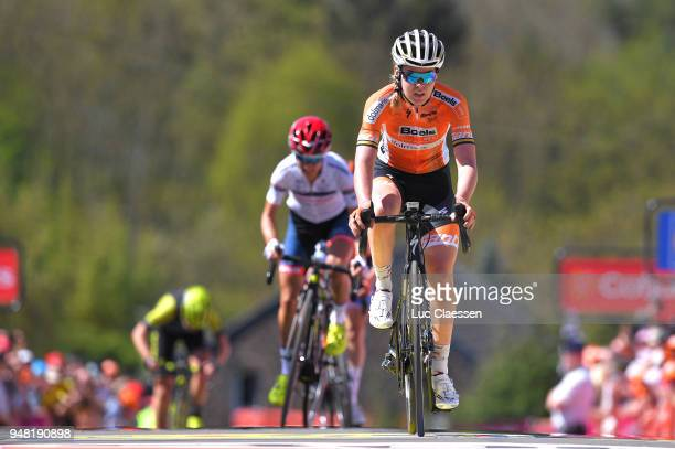 Arrival / Anna Van Der Breggen of The Netherlands and Boels Dolmans Cycling Team / Celebration / during the 21st La Fleche Wallonne 2018 a 1185km...