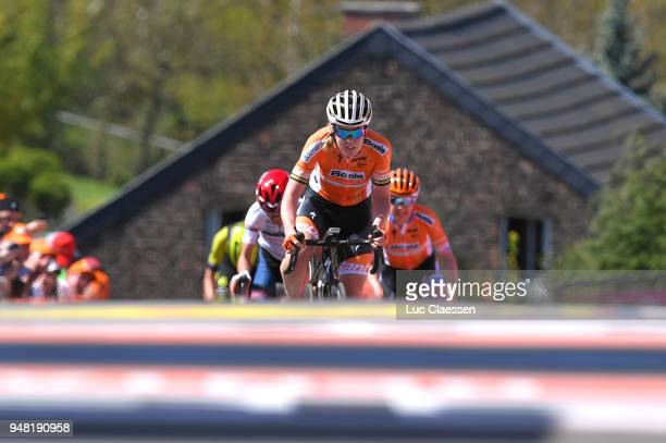 Arrival / Anna Van Der Breggen of The Netherlands and Boels Dolmans Cycling Team / Celebration / during the 21st La Fleche Wallonne 2018 a 1185km...