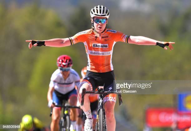 Arrival / Anna Van Der Breggen of The Netherlands and Boels - Dolmans Cycling Team / Celebration / during the 21st La Fleche Wallonne 2018 a 118,5km...