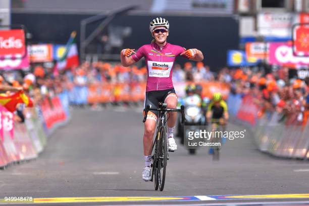 Arrival / Anna van der Breggen of The Netherlands and Boels - Dolmans Cycling Team / Celebration / during the 2nd Liege-Bastogne-Liege 2018 a 136km...