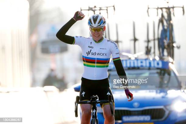 Arrival / Anna Van Der Breggen of The Netherlands and Team SDWorx Celebration, during the 16th Omloop Het Nieuwsblad 2021, Women's Race a 124,4km...
