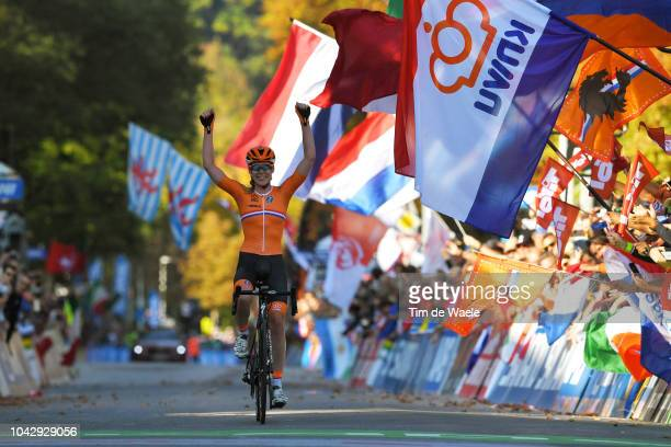Arrival / Anna Van Der Breggen of The Netherlands / Celebration / during the Women Elite Road Race a 156,2km race from Kufstein to Innsbruck 582m at...