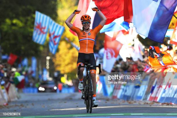 Arrival / Anna Van Der Breggen of The Netherlands / Celebration / during the Women Elite Road Race a 1562km race from Kufstein to Innsbruck 582m at...