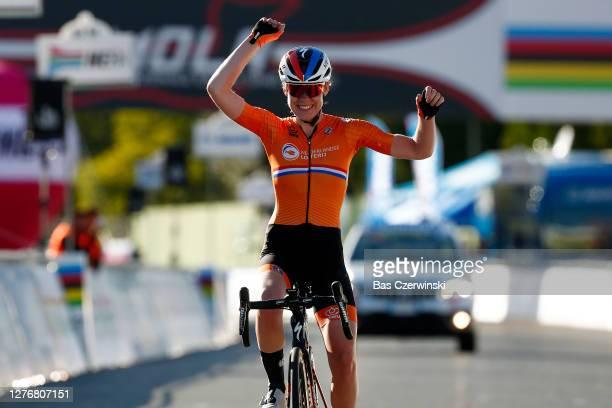 Arrival / Anna Van Der Breggen of The Netherlands / Celebration / during the 93rd UCI Road World Championships 2020, Women Elite Road Race a 143km...
