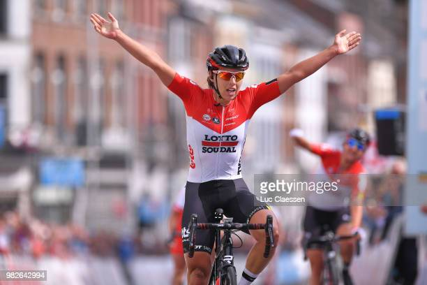 Arrival / Annelies Dom of Belgium and Team Lotto Soudal Ladies / Celebration / during the 119th Belgian Road Championship 2018, Elite Women a 103,2km...