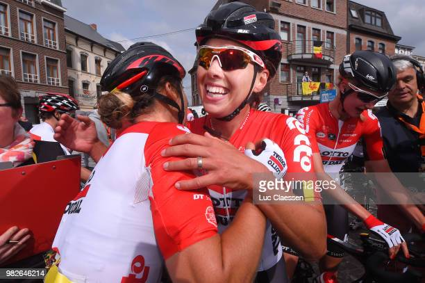 Arrival / Annelies Dom of Belgium and Team Lotto Soudal Ladies / Valerie Demey of Belgium and Lotto Soudal Ladies / Kelly Van Den Steen of Belgium...