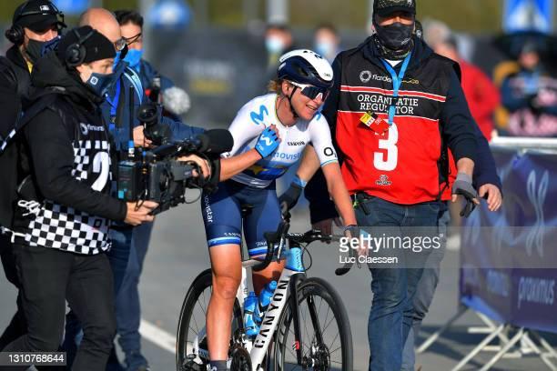 Arrival / Annemiek Van Vleuten of Netherlands and Movistar Team Women Celebration, during the 18th Ronde van Vlaanderen - Tour of Flanders 2021,...