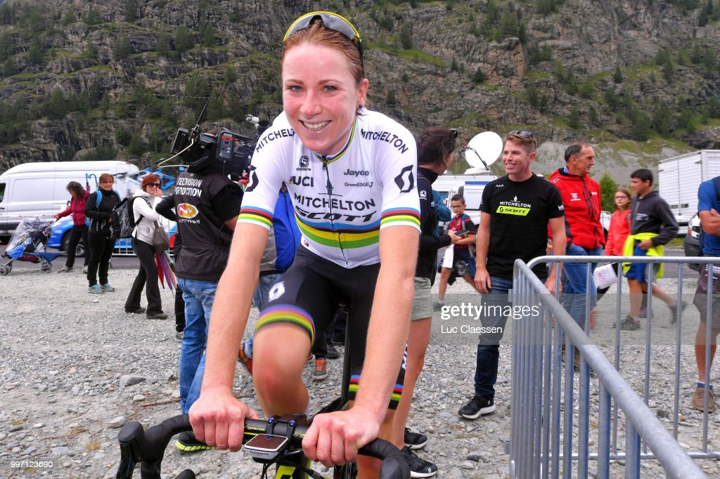Arrival / Annemiek van Vleuten of The Netherlands and Team Mitchelton-Scott / Celebration / Gene Bates of Australia Sportsdirector / Warm up / during the 29th Tour of Italy 2018 - Women, Stage 7 a 15km Individual time trial stage from Lanzada to Diga Di Campo Moro 2000m / Giro Rosa / on July 12, 2018 in Diga Di Campo Moro, Italy.
