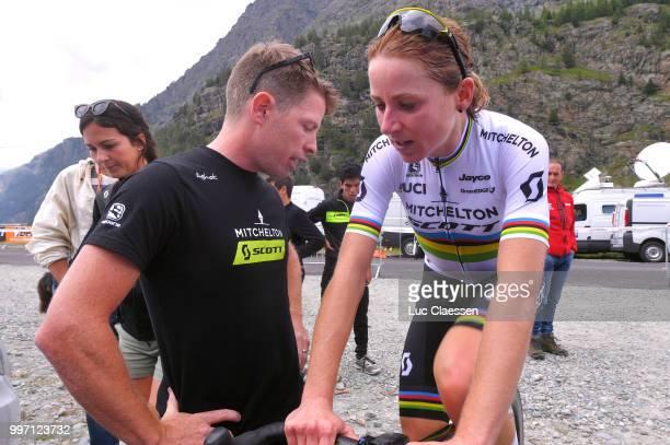 Arrival / Annemiek van Vleuten of The Netherlands and Team Mitchelton-Scott / Celebration / Gene Bates of Australia Sportsdirector / Warm up / during...