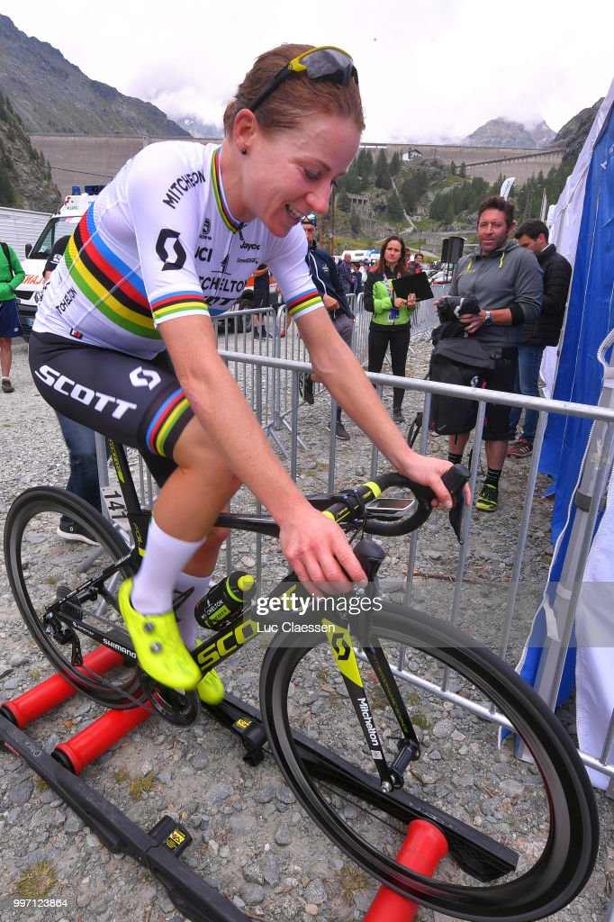 Arrival / Annemiek van Vleuten of The Netherlands and Team Mitchelton-Scott / Celebration / Warm up / during the 29th Tour of Italy 2018 - Women, Stage 7 a 15km Individual time trial stage from Lanzada to Diga Di Campo Moro 2000m / Giro Rosa / on July 12, 2018 in Diga Di Campo Moro, Italy.