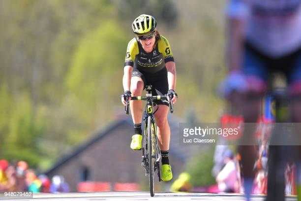 Arrival / Annemiek van Vleuten of The Netherlands and Team MitcheltonScott / during the 21st La Fleche Wallonne 2018 a 1185km women's race from Huy...