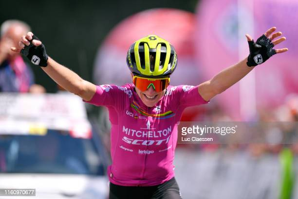 Arrival / Annemiek Van Vleuten of The Netherlands and Team Mitchelton Scott UCI Leaders Jersey / Celebration / during the 30th Tour of Italy 2019 -...