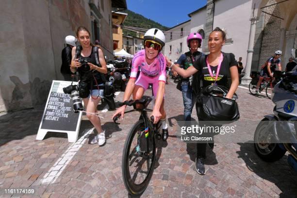 Arrival / Annemiek Van Vleuten of The Netherlands and Team Mitchelton Scott Pink Leader Jersey / Nadia Zuccherelli of Italy and Team Mitchelton Scott...