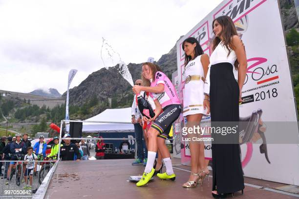 Arrival / Annemiek van Vleuten of The Netherlands and Team Mitchelton-Scott Pink Leader Jersey / Celebration / Champagne / during the 29th Tour of...