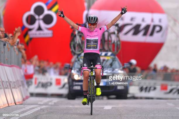 Arrival / Annemiek van Vleuten of The Netherlands and Team MitcheltonScott Pink Leader Jersey / Celebration / during the 29th Tour of Italy 2018...