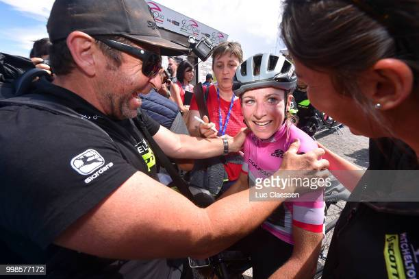 Arrival / Annemiek van Vleuten of The Netherlands and Team Mitchelton-Scott Pink leaders jersey / Bruce Caretti of Italy / Soigneur / Celebration /...