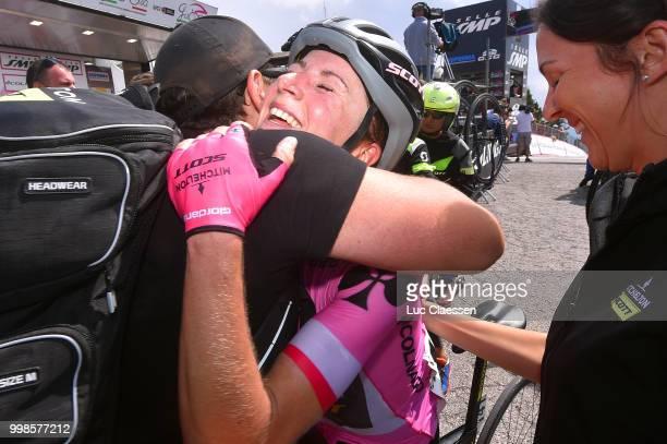 Arrival / Annemiek van Vleuten of The Netherlands and Team Mitchelton-Scott Pink leaders jersey / Bruce Caretti of Italy / Soigneur / Celebration /...