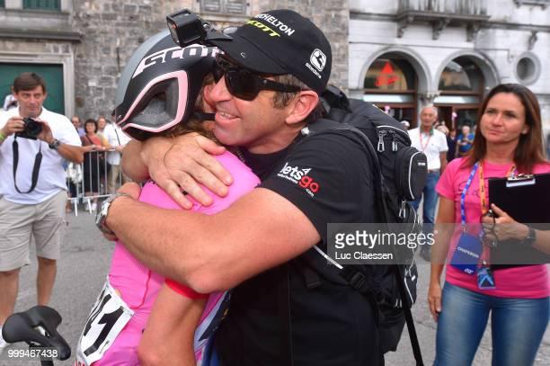 Arrival / Annemiek van Vleuten of The Netherlands and Team Mitchelton-Scott / Pink leaders jersey / Bruce Caretti of Australia / Soigneur /...