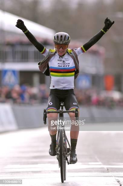 Arrival / Annemiek Van Vleuten of The Netherlands and Team Mitchelton-SCOTT World Champion Jersey / Celebration / during the 75th Omloop Het...