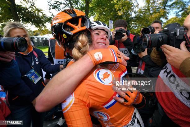 Arrival / Annemiek Van Vleuten of The Netherlands / Celebration / Anna Van Der Breggen of The Netherlands / during the 92nd UCI Road World...