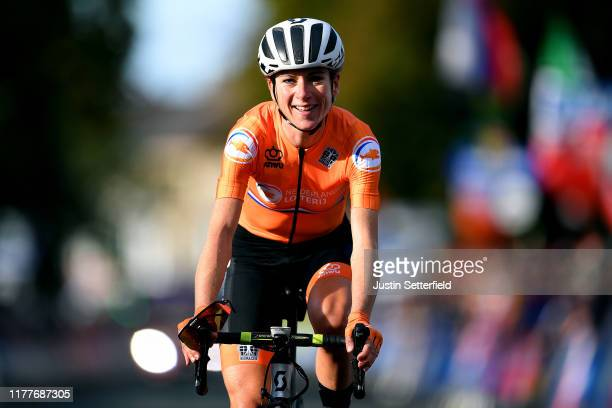 Arrival / Annemiek Van Vleuten of The Netherlands / Celebration / during the 92nd UCI Road World Championships 2019, Women Elite Road Race a 149,4km...