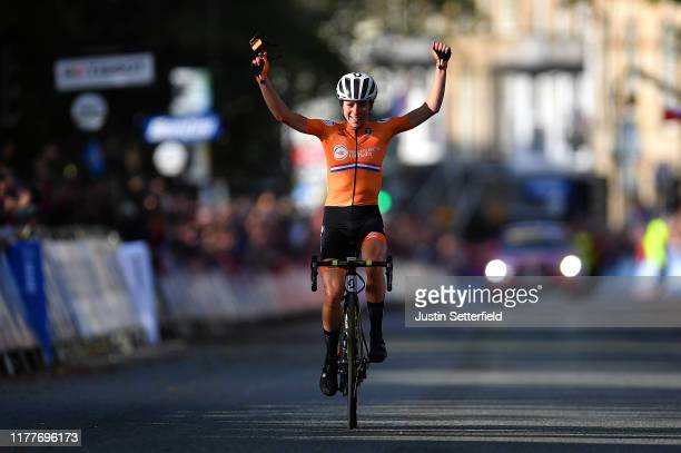 Arrival / Annemiek Van Vleuten of The Netherlands / Celebration / during the 92nd UCI Road World Championships 2019 Women Elite Road Race a 1494km...
