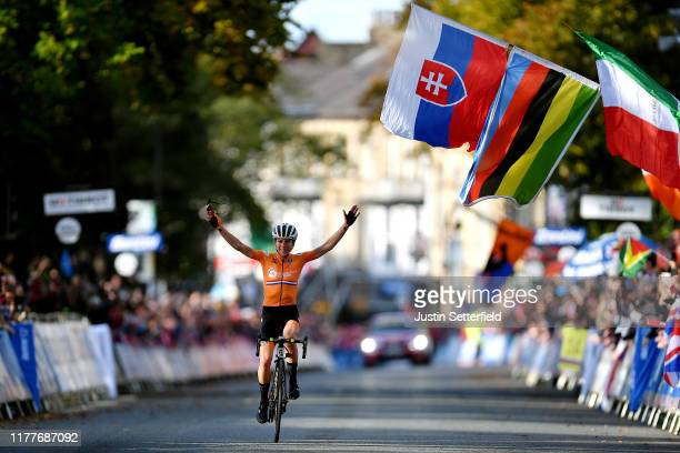 Arrival / Annemiek Van Vleuten of The Netherlands / Celebration / Flags / during the 92nd UCI Road World Championships 2019, Women Elite Road Race a...