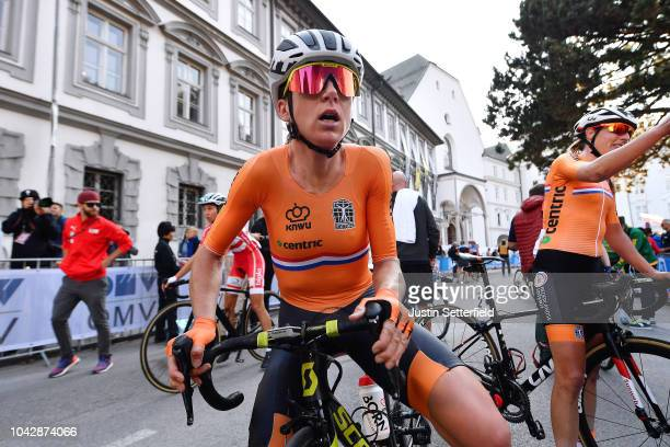 Arrival / Annemiek Van Vleuten of The Netherlands / Disappointment / during the Women Elite Road Race a 156,2km race from Kufstein to Innsbruck 582m...
