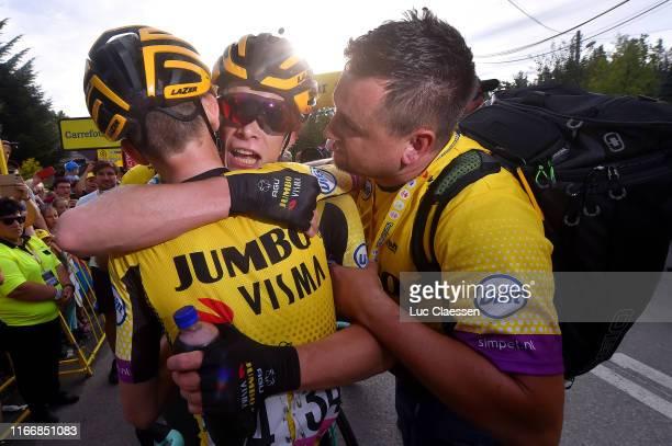 Arrival / Antwan Tolhoek of The Netherlands and Team Jumbo - Visma / Jonas Vingegaard Rasmussen of Denmark and Team Jumbo - Visma / Celebration /...