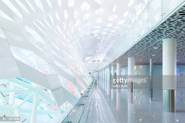 arrival area of shenzhen baoan international airport - shenzhen stock pictures, royalty-free photos & images