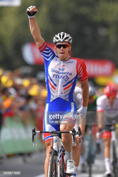 Arrival / Arnaud Demare of France and Team Groupama FDJ / Celebration / Christophe Laporte of France and Team Cofidis / during the 105th Tour de...