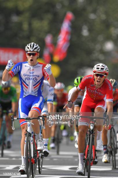Arrival / Arnaud Demare of France and Team Groupama FDJ / Celebration / Christophe Laporte of France and Team Cofidis Disappointment / during the...