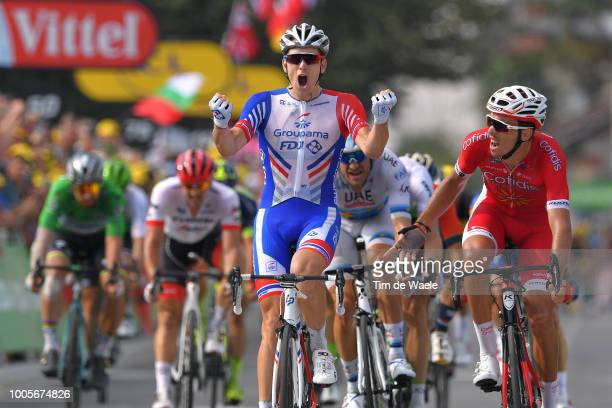 Arrival / Arnaud Demare of France and Team Groupama FDJ / Celebration / Christophe Laporte of France and Team Cofidis Disappointment / Alexander...