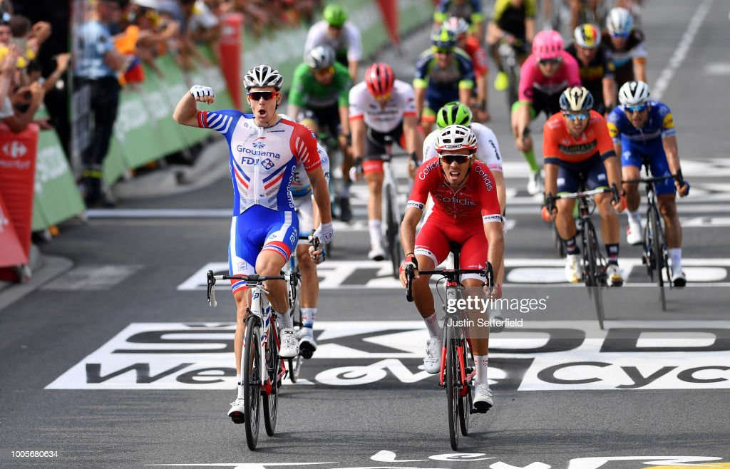 Arrival / Arnaud Demare of France and Team Groupama FDJ / Celebration / Christophe Laporte of France and Team Cofidis / Alexander Kristoff of Norway and UAE Team Emirates / during the 105th Tour de France 2018, Stage 18 a 171km stage from Trie-sur-Baise to Pau on July 26, 2018 in Pau, France.