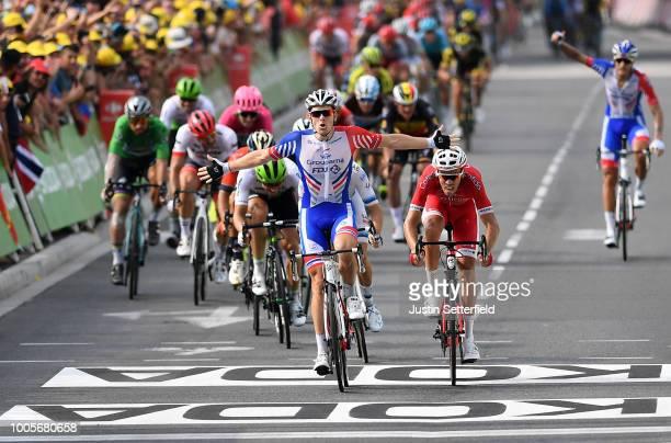 Arrival / Arnaud Demare of France and Team Groupama FDJ / Celebration / Christophe Laporte of France and Team Cofidis / Alexander Kristoff of Norway...