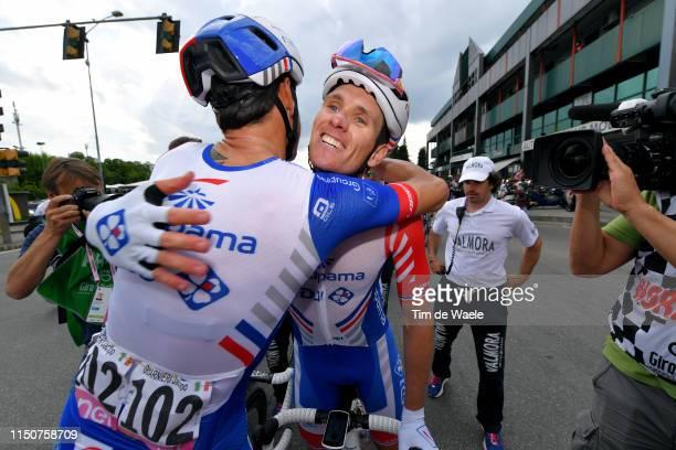 Arrival / Arnaud Demare of France and Team Groupama - FDJ / Celebration / Jacopo Guarnieri of Italy and Team Groupama - FDJ / during the 102nd Giro...