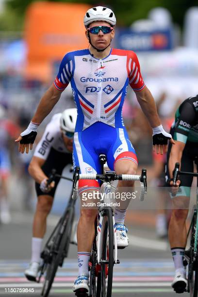 Arrival / Arnaud Demare of France and Team Groupama - FDJ / Celebration / during the 102nd Giro d'Italia 2019, Stage 10 a 145 km stage from Ravenna...
