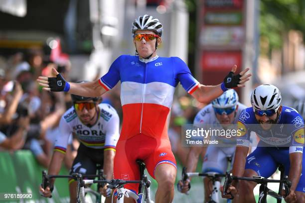 Arrival / Arnaud Demare of France and Team Groupama FDJ / Celebration / Fernando Gaviria of Colombia and Team Quick-Step Floors / Peter Sagan of...