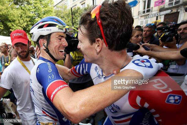 Arrival / Arnaud Demare of France and Team Groupama FDJ / Olivier Le Gac of France and Team Groupama FDJ / Celebration / during the 105th Tour de...