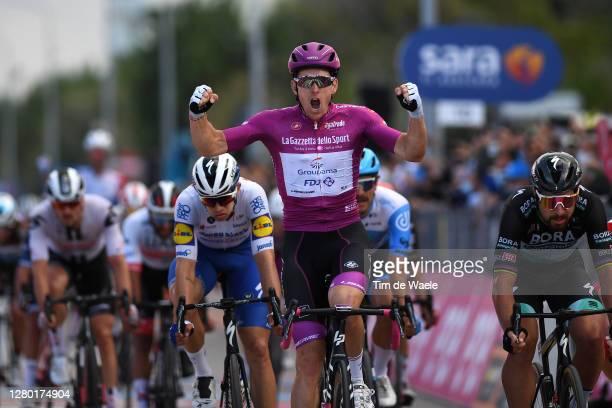 Arrival / Arnaud Demare of France and Team Groupama - FDJ Purple Points Jersey / Celebration / Peter Sagan of Slovakia and Team Bora - Hansgrohe /...