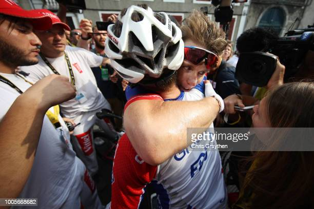 Arrival / Arnaud Demare of France and Team Groupama FDJ / Rudy Molard of France and Team Groupama FDJ / Celebration / during the 105th Tour de France...