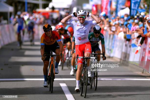 Arrival / Arnaud Demare of France and Team Groupama - FDJ White Leader Jersey / Celebration / Ivan Garcia Cortina of Spain and Team Bahrain - Mclaren...